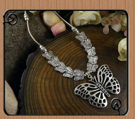 Bohemian Carved Butterfly Pendant Tibetan Silver Color Necklace