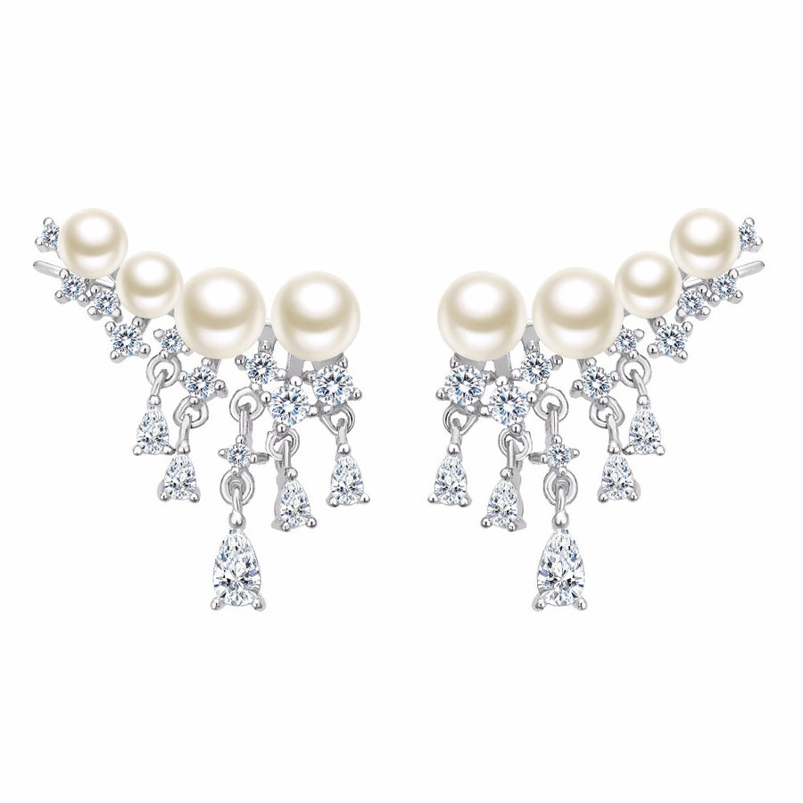925 Sterling Silver Cubic Zircon Ivory Pearl Ear Cuff Earrings