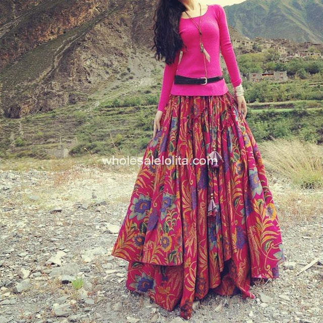 Long Flowing Bohemian Style Ethnic Print Linen Skirt