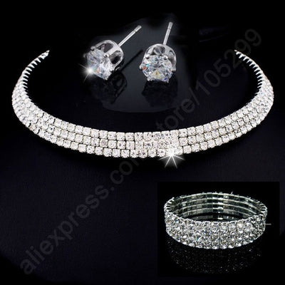 Silver Plated Fashion Sets With Crystal
