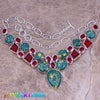 Sparkly Green Natural Stone Red  Garnet 925 Sterling Silver Grade  Necklace L529