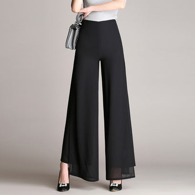 Vintage Loose High Waist Long Trousers In Chiffon With Side Split In Plus size