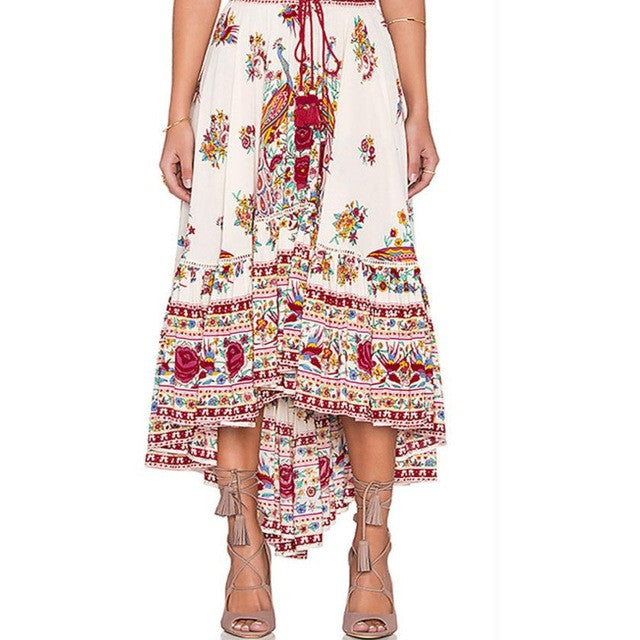 Boho Floral Printed Chiffon Long Asymmetric Pleated Casual Beach Wear Maxi Skirt