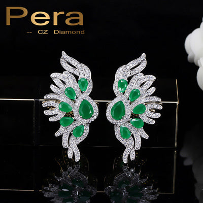 925 Sterling Silver CZ Jewelry Created Green And White Cubic Zirconia Big Ear Stud Earrings