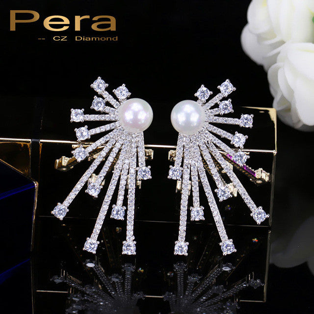 925 Sterling Silver Pin Jewelry Mirco Pave Cubic Zirconia Ear Stud With Imitation Pearl