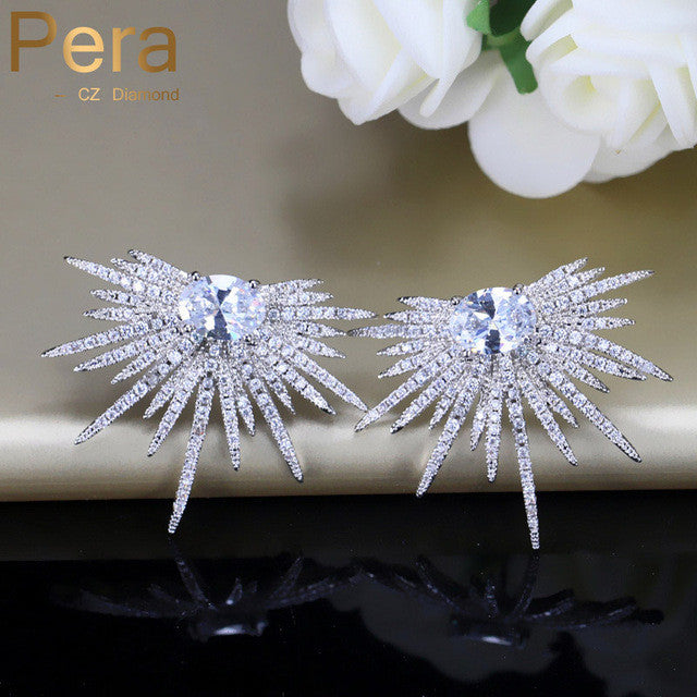 Cubic Zircon Stud Earrings With 925 Sterling Silver Pin Ear Jewelry