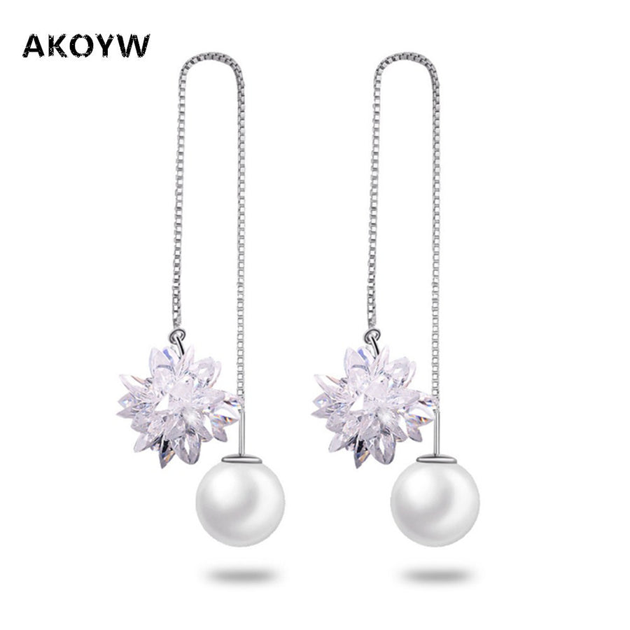 925 silver pearl zircon flower earrings