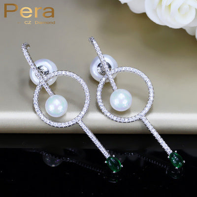 925 Silver Ear Pin Jewelry Big Hollow Round Pearl Drop Earring With Green Stone
