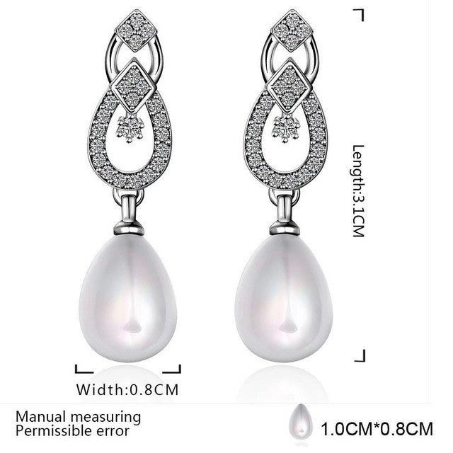 925 Sterling Silver Earrings Zircon Pearl Ear Drops