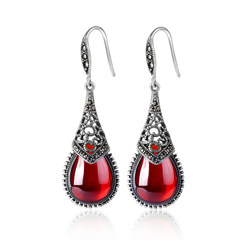 925 pure silver earrings garnet vintage ear hook