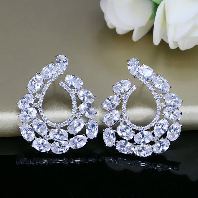 925 Sterling Silver Big Oval Cut CZ Post Stud Earrings