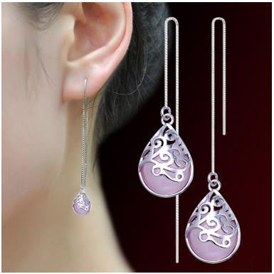 925 silver Tassel Earrings long hollow pattern opal earrings and retro sweet female ear line