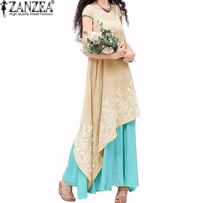 Loose O Neck Short Sleeve Embroidery Long Maxi Dress Plus Size S-5XL