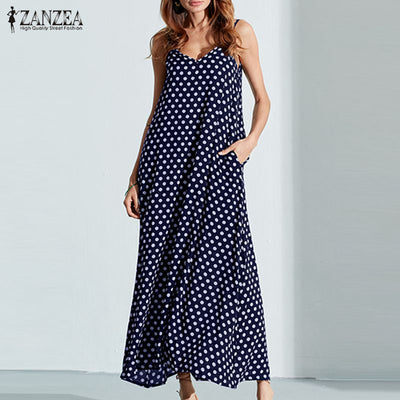 Summer Dress With Spaghetti Straps And Polka Dot In Plus Size
