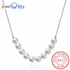Solid 925 Sterling Silver Pendant Necklace With Simulated Pearls