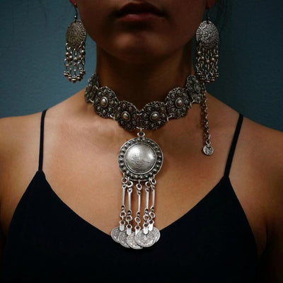 Bohemian Gypsy Festival Silver Coin Collar Statement Necklace
