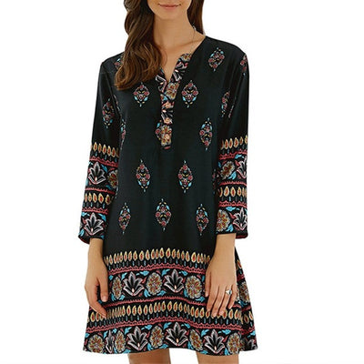 Beach Mini Dress With Long Sleeve And V Neck Flower Print