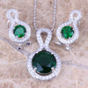 Green Cubic Zirconia White CZ In Pure 925 Sterling Silver Jewellery Sets