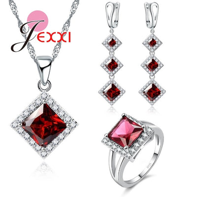 Necklace/Earring/Ring Jewelry Set Rhombic Cut CZ Crystal In Pure 925 Sterling Silver