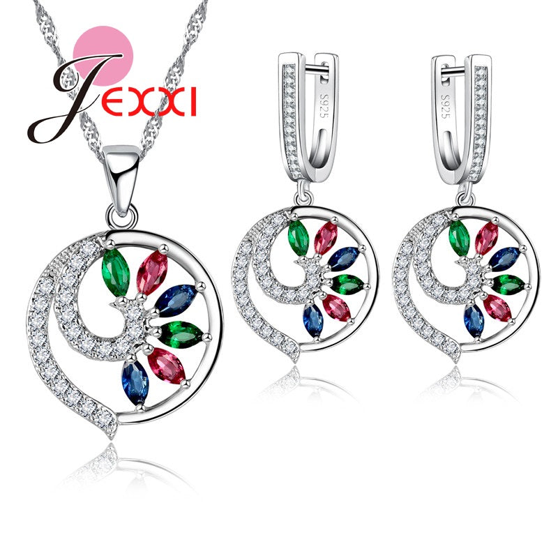 CZ Crystal  In Pure 925 Sterling Silver Set