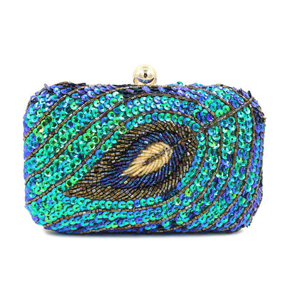 Handmade Women Fancy Embroidered Sequins Leaf Evening  Clutches