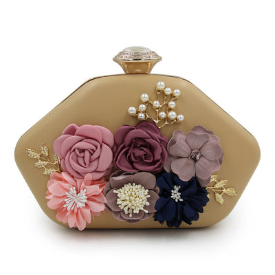 Pearl Bridal 3D Flowers Evening Party  Clutch Purse