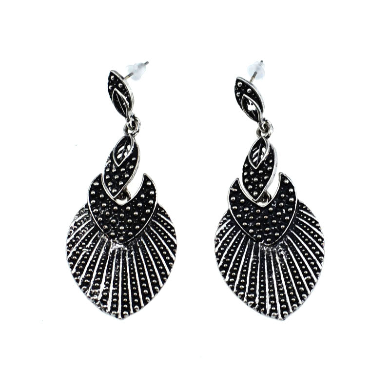Ethnic Silver Color Carved Pendant Earrings Vintage Jewellery