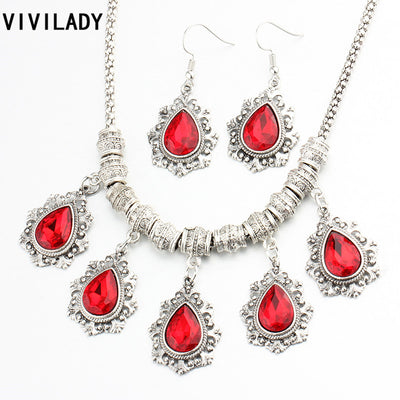 Austrian Crystal Jewellery Sets In Tibetan Silver Color