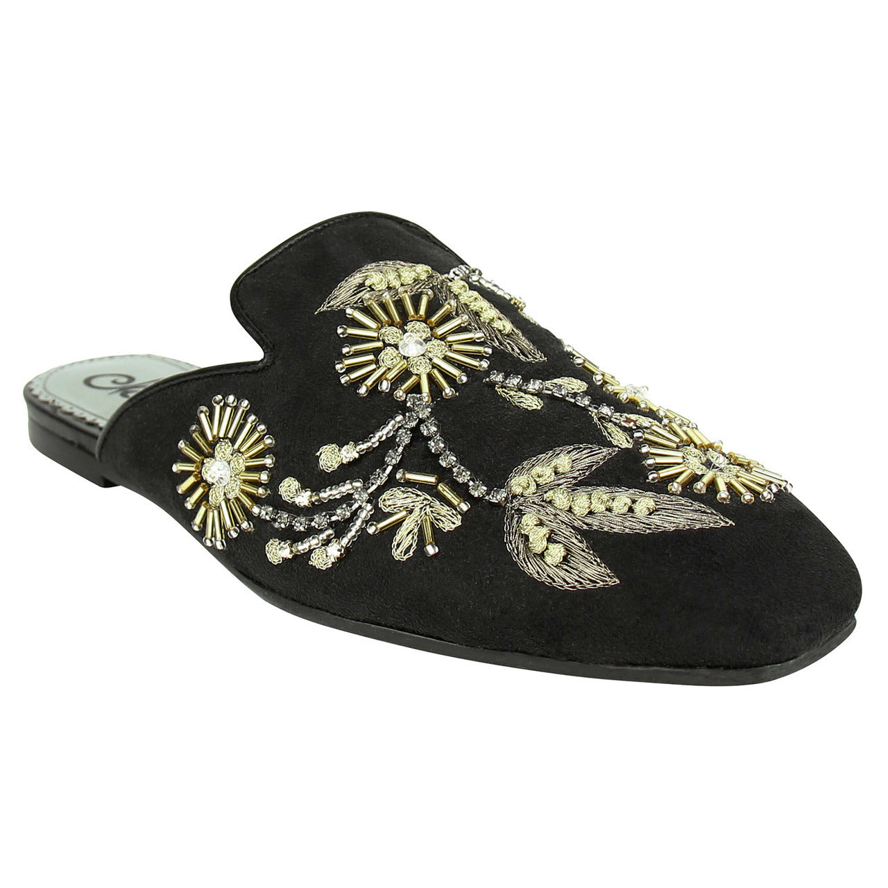 naughty_Monkey_slipper_flat_women_embroidered_Floral Island-Black