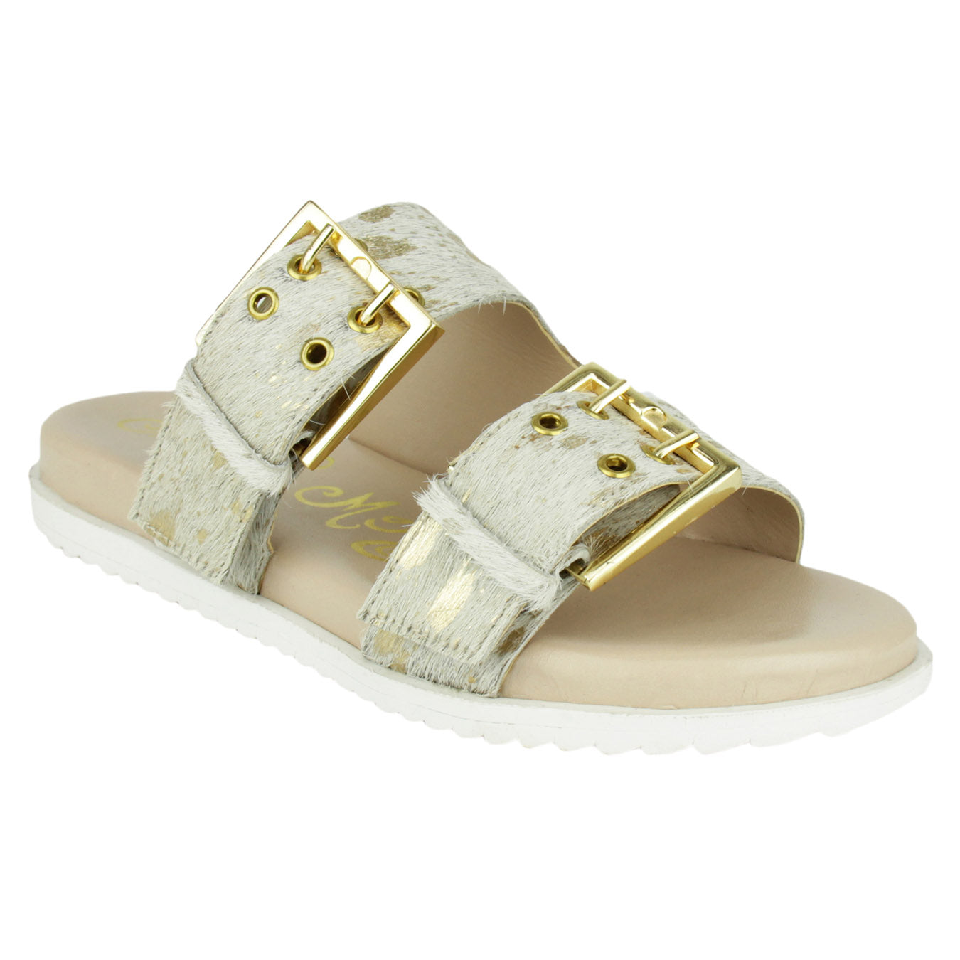 naughty_monkey_sandal_flat_buckles_pony_hair_women_white_gold