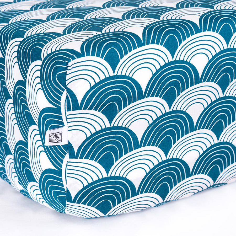 Organic fitted crib sheets with waves blue