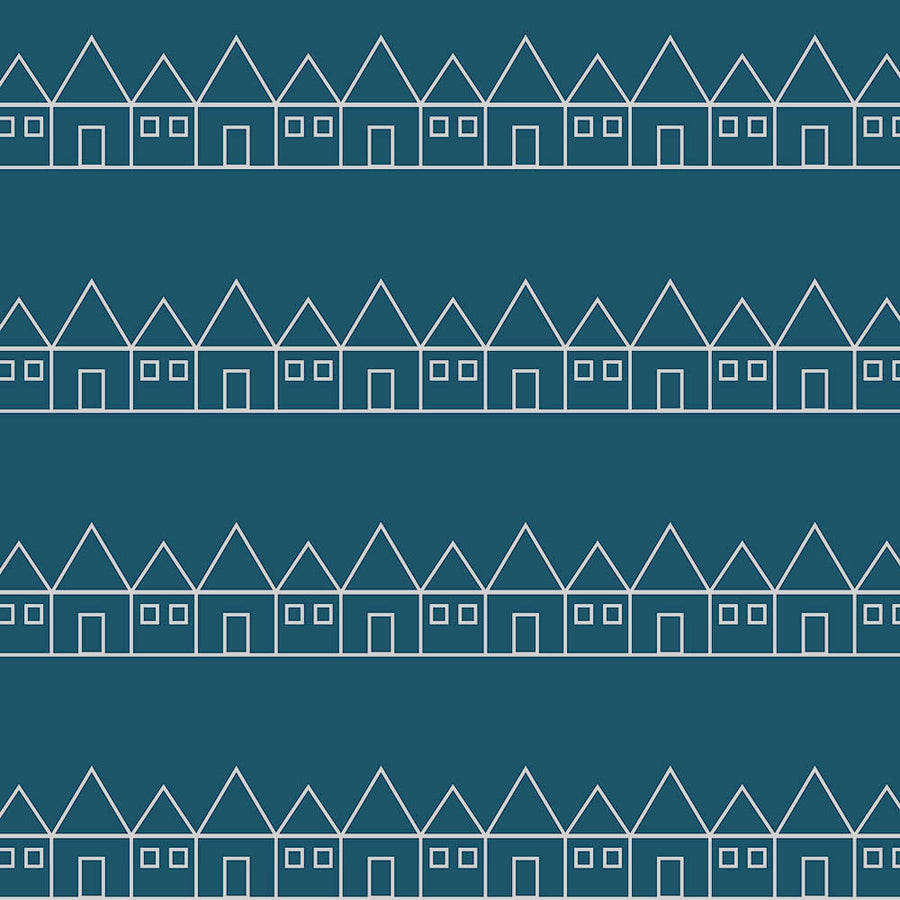 Blue crib sheets with small houses organic