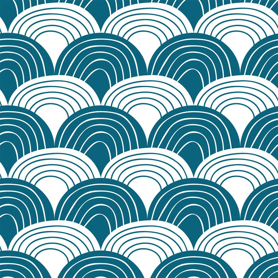 Organic crib sheets with waves blue