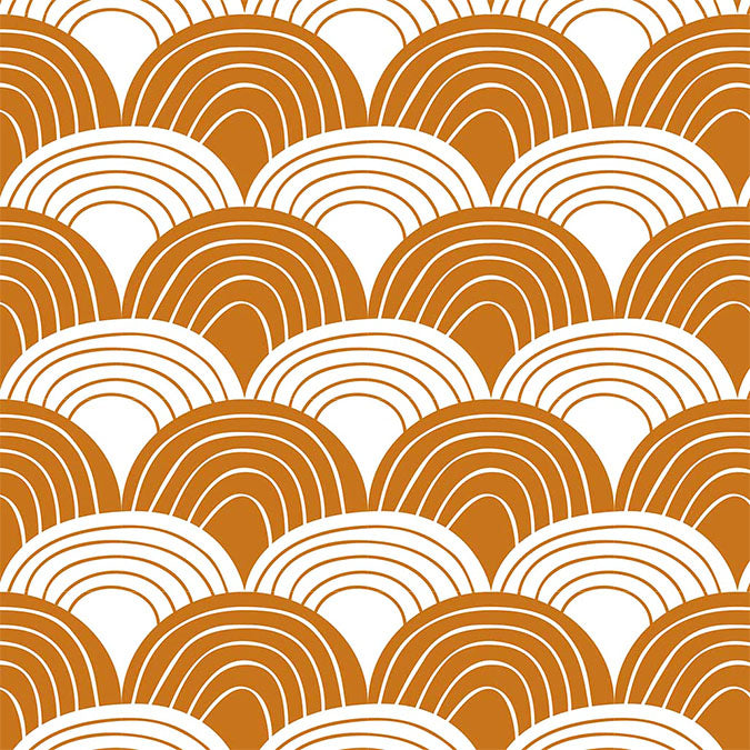 Organic crib sheets with waves brown