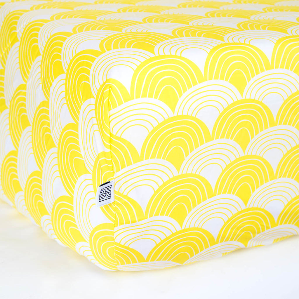 Organic fitted crib sheets with waves yellow