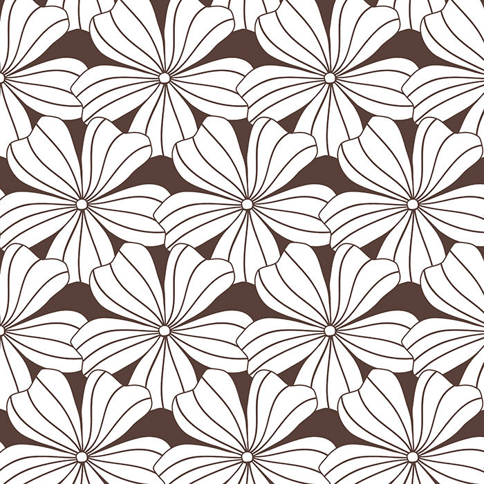 FLOWERS | Dark chocolate | 90x200cm | Fitted sheet