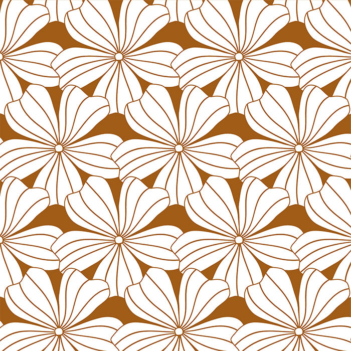 FLOWERS | Cinnamon brown | 90x200cm  | Fitted sheet