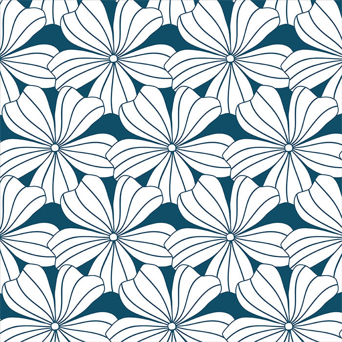 FLOWERS | Moroccan blue | 90x200cm | Fitted sheet