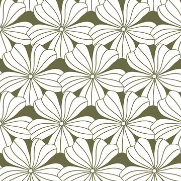 FLOWERS | Olive green | 90x200cm / 35.5x78.7