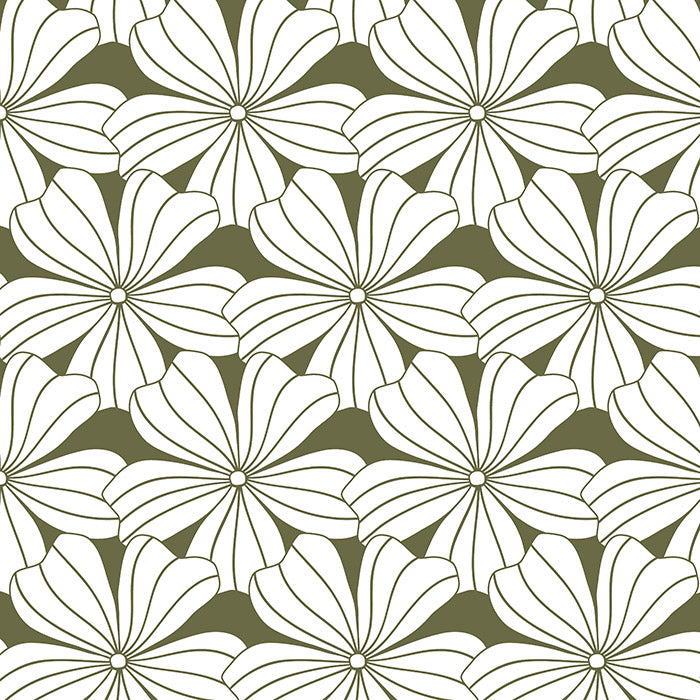 FLOWERS | Olive green | 90x200cm  | Fitted sheet