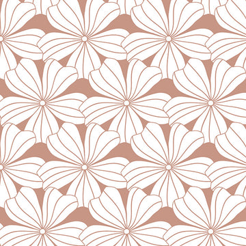 FLOWERS | Terracotta pink | 90x200cm | Fitted sheet