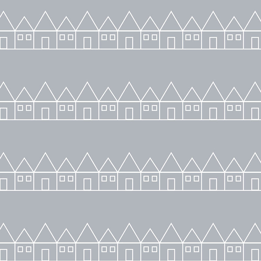 Grey toddler bed sheets with small houses