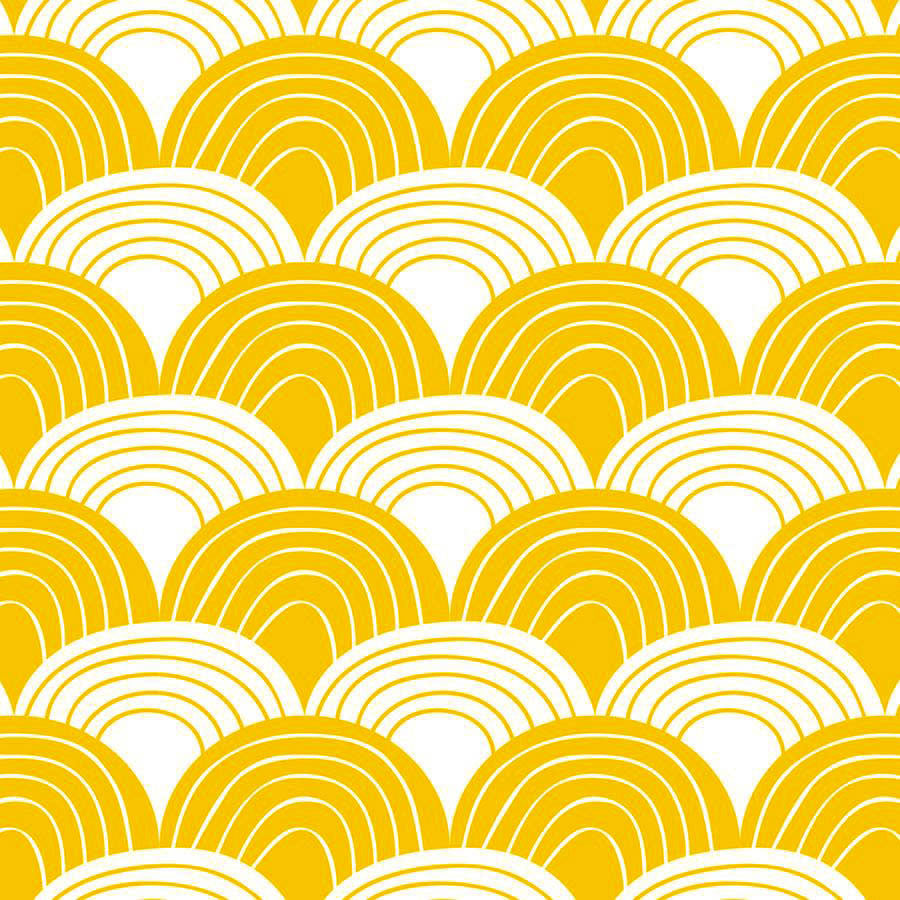 NEW! RAINBOWS | Double fitted sheet | 2 sizes | Mustard yellow