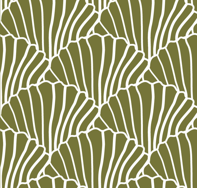 SEASHELLS | Olive green | 90x200cm | Fitted single sheet