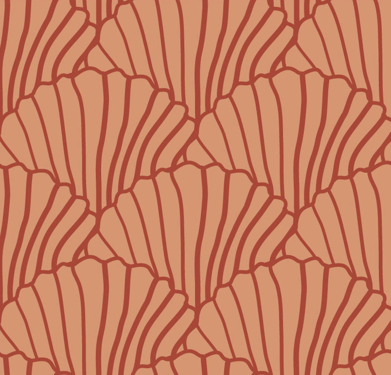 SEASHELLS | Terracotta+ burgundy | 90x200cm | Fitted single sheet