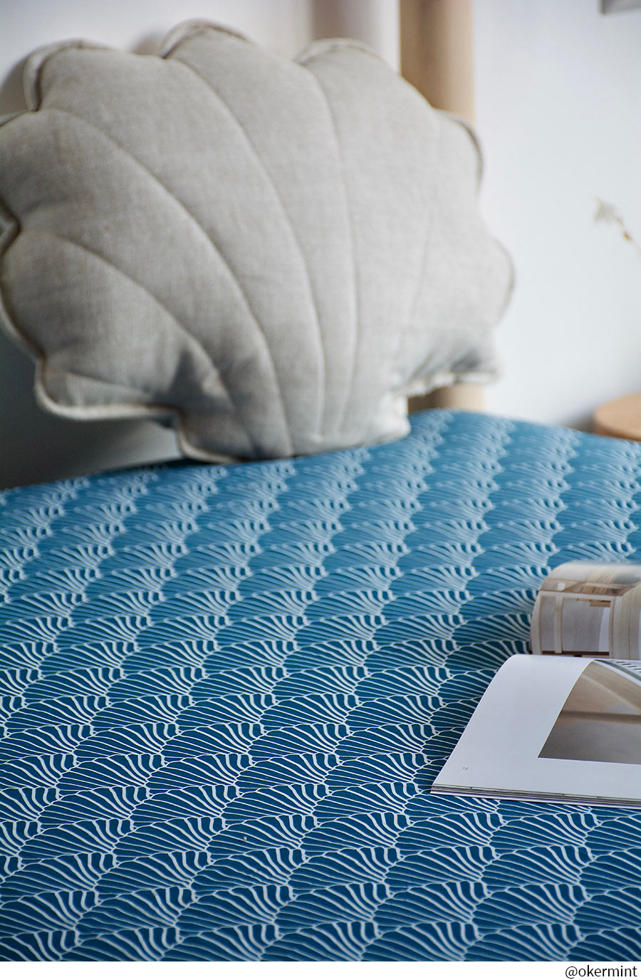 SEASHELLS | Moroccan blue | 90x200cm | Fitted single sheet