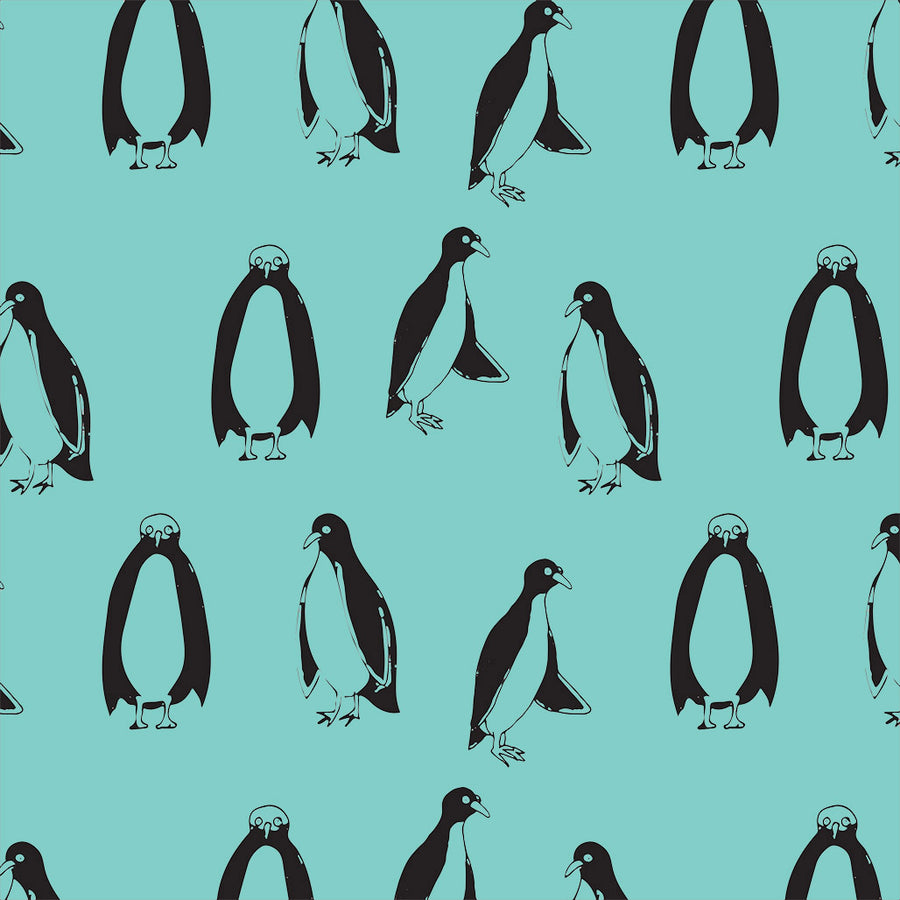 Crib sheet organic cotton penguins blue