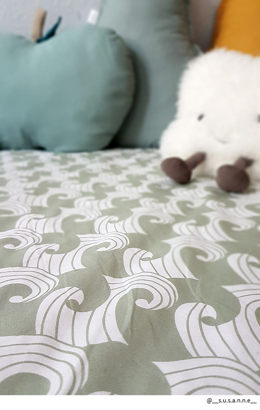 WAVES | Sage | 90x200cm | Fitted single sheet