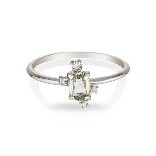 Dahlia | Green sapphire & diamonds - Limited edition