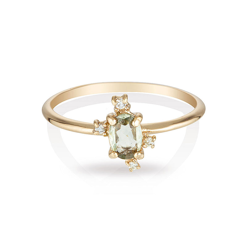 Dahlia II | Green sapphire & diamonds - Limited edition